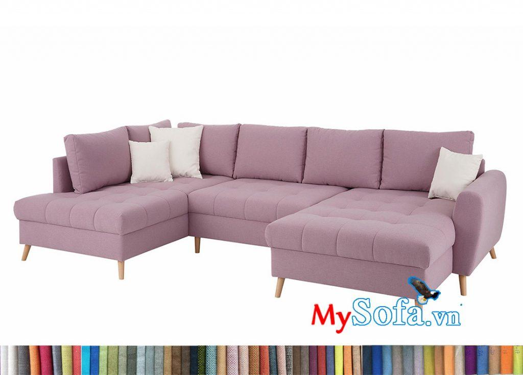 Ghế sofa chữ U bọc nỉ vải màu tím nhạt