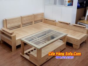 Mẫu sofa gỗ tự nhiên SFG016 kiểu dáng góc L hiện đại