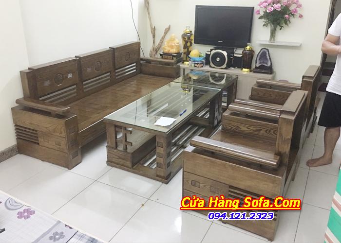 Bàn ghế sofa gỗ tự nhiệ SFG018 sơn màu óc chó sang trọng