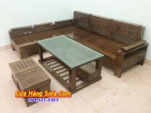 Bộ bàn ghế sofa gỗ góc chữ L hiện đại SFG017