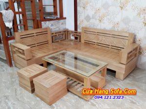 Bộ bàn ghế sofa gỗ sồi tự nhiên cho phòng khách hiện đại SFG011