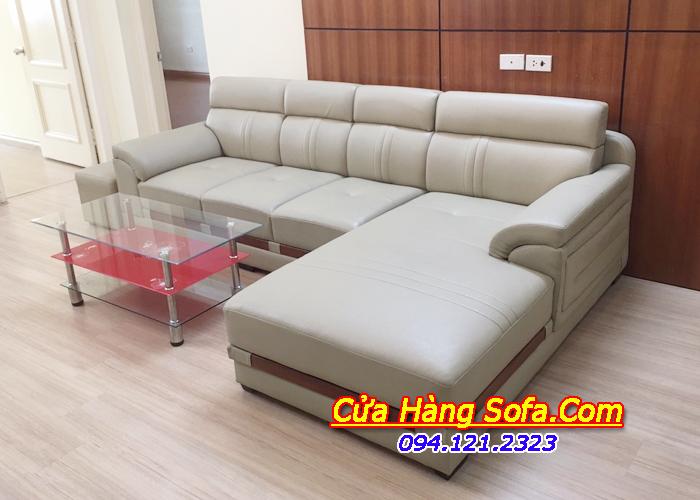 Ghế sofa da phòng khách kiểu dáng góc sang trọng SFD123