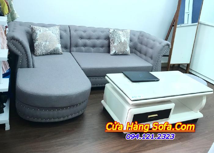 Mẫu ghế sofa tân cổ điển chất liệu nỉ trẻ trung SFN118