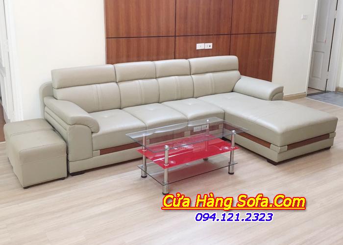 Ghế sofa da phòng khách dạng góc sang trọng SFD123