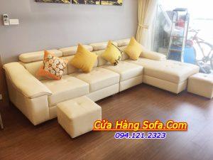 Bộ ghế sofa góc chữ L SFD158 chất liệu da hiện đại