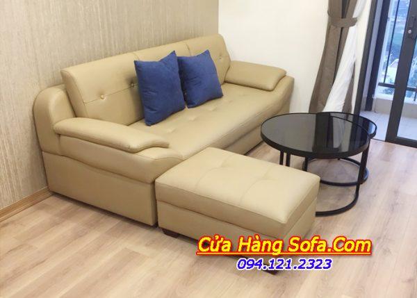 Mẫu ghế sofa văng chất liệu giả da SFD099. Kết hợp với đôn lớn và 2 đôn nhỏ giúp gia tăng chỗ ngồi mỗi khi cần