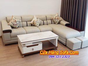 Ghế sofa da cao cấp phòng khách sang trọng. Với tông màu kem sang trọng kết hợp với viền đen nổi bật cho bộ sofa