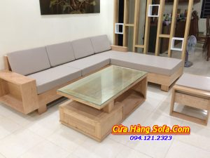 Mẫu sofa gỗ màu nâu vân gỗ phòng khách AmiA SFG 2405