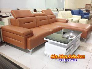 Mẫu sofa da màu nâu cho phòng khách AmiA SFD 222