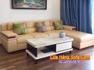 Hình ảnh bộ sofa phòng khách kiểu dáng góc chữ L nhà khách hàng