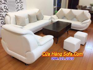 Mẫu ghế sofa da phòng khách màu trắng AmiA SFD195