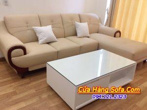 Mẫu sofa da màu kem chữ L cho phòng khách AmiA SFD 214
