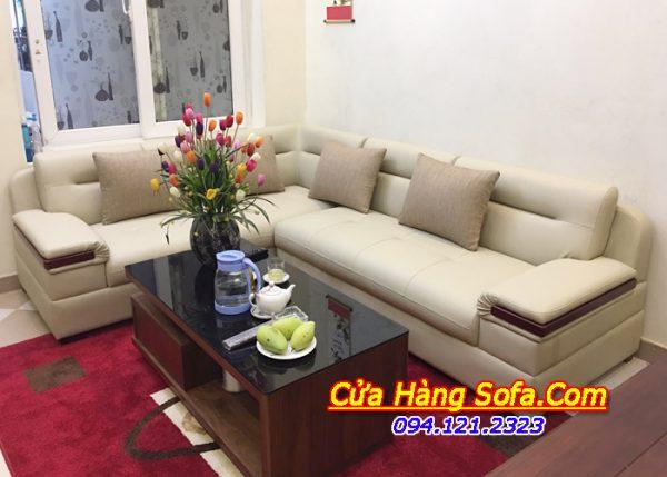 Bộ ghế sofa da góc chữ L màu nude sáng AmiA SFD 201