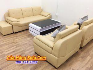 Hình ảnh thực tế mẫu ghế sofa da đẹp truyền thống cho phòng khách AmiA SFD 203