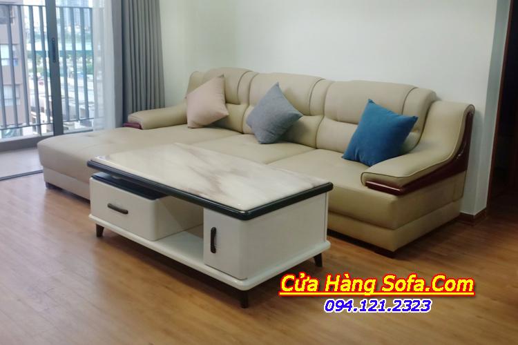 Hình ảnh thực tế chụp tại nhà khách của mẫu sofa da AmiA SFD 251