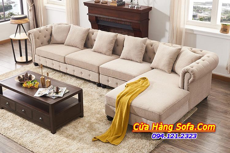 Mẫu ghế sofa nỉ góc dạng tân cổ điển cho phòng khách sang trọng đẳng cấp