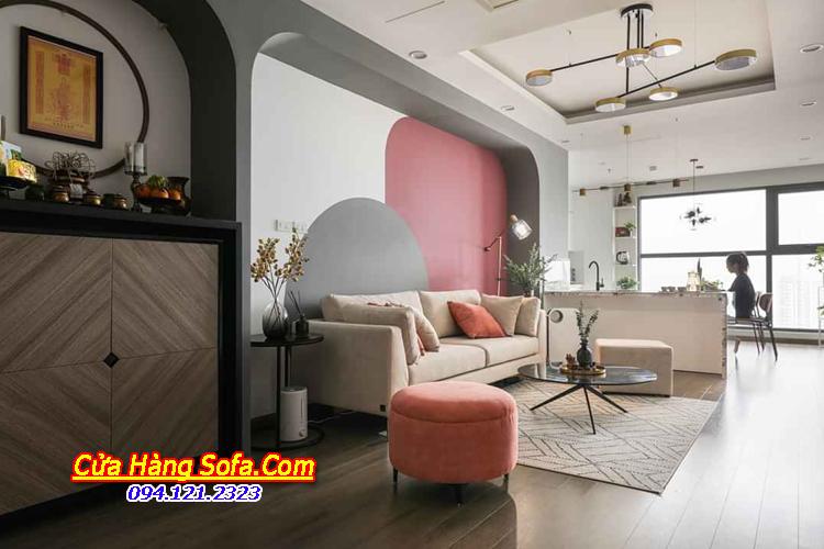 Ghế sofa văng dài phù hợp với thiết kế nội thất phòng khách chung cư hiện nay