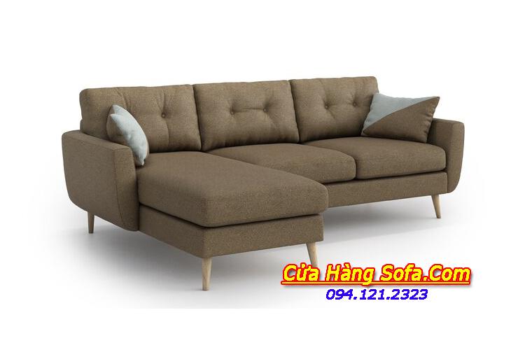 Mẫu ghế sofa nỉ dạng góc chữ L SFN151884 cho nhà ống hiện đại
