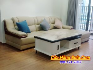 Mẫu sofa da màu kem ốp tay sơn cao cấp AmiA SFD 251