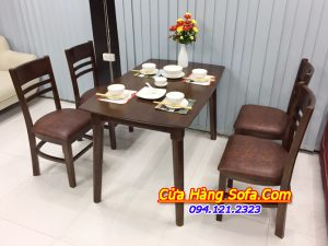 Bàn ghế ăn hiện đại màu sẫm 4 ghế AmiA BA020