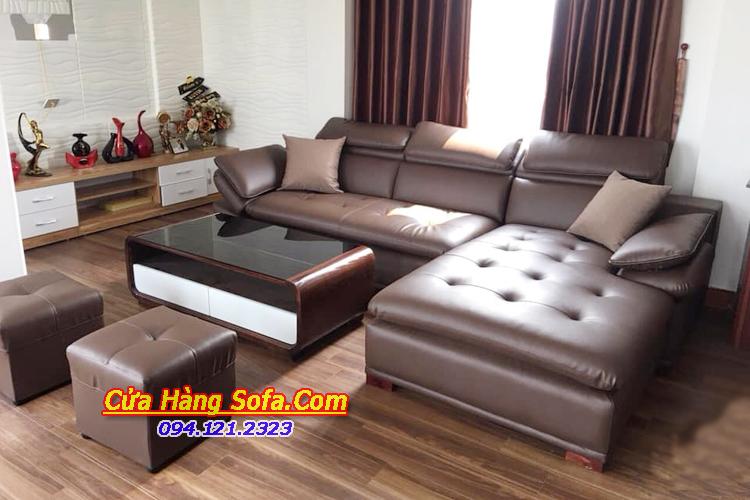 Ghế sofa góc phòng khách căn hộ với chất liệu da hiện đại và sang trọng hơn
