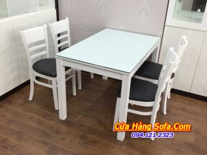 Mẫu bàn ăn 4 ghế cabin đẹp màu trắng AmiA BA019