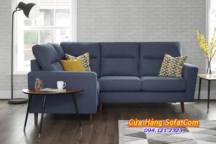 Mẫu ghế sofa góc cho phòng khách chung cư SFN151955. Với gam màu xanh đâm nổi bật