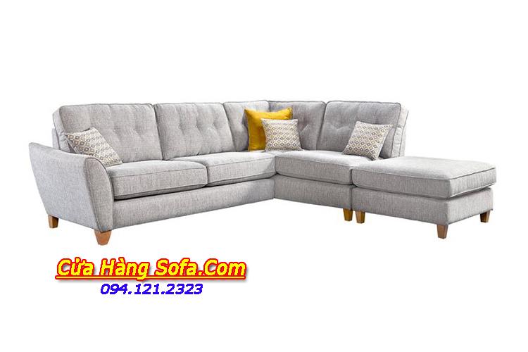 Mẫu ghế sofa góc nỉ cho phòng khách rộng. Sự kết hợp kiểu dáng góc chữ L với đôn lớn tiện dụng cho việc gia tăng chỗ ngồi