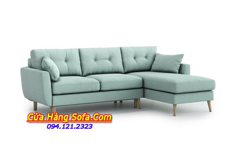 Mẫu ghế sofa góc chữ L hiện đại.  Với gam màu xanh bắt mắt đang được ưa chuộng sử dụng hiện nay