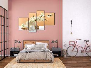 Hình ảnh Tranh bình hoa trắng trang trí phòng ngủ đẹp hiện đại mã 1258