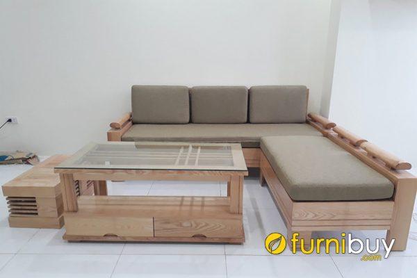 mẫu sofa góc gỗ sồi hiện đại